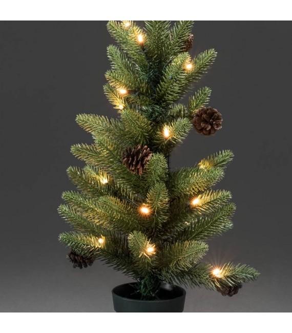 Sapin de Noël lumineux à LED avec pommes de pin et pot, 60 cm