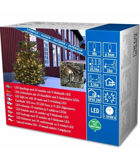 Guirlande lumineuse LED pour illumination Noël extérieur, effet scintillant, 40 diodes
