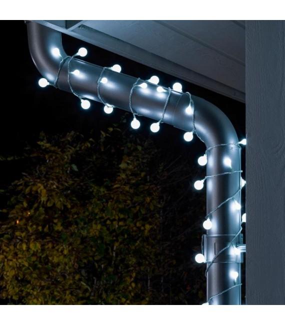 Guirlande lumineuse extérieure à LED, 80 diodes rondes blanc froid