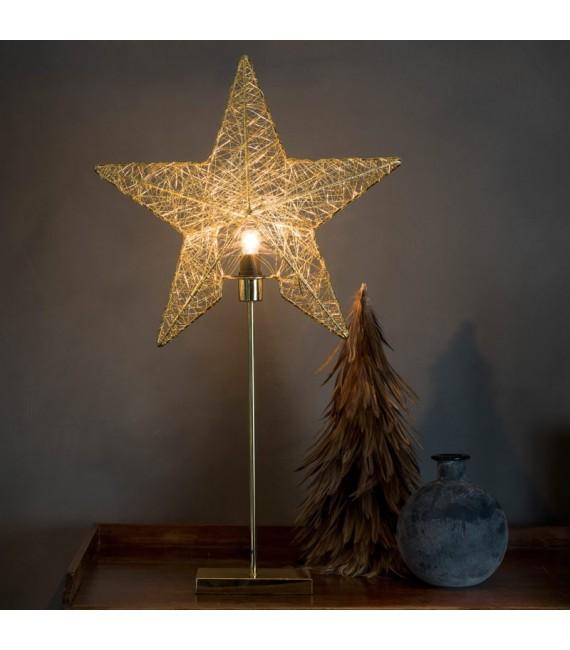 Étoile lumineuse en fil métallique couleur laiton, 70 cm