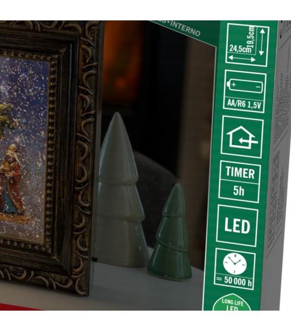 Cadre lumineux LED crèche de Noël, effet neige
