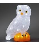 Chouette à LED en acrylique, 27 cm