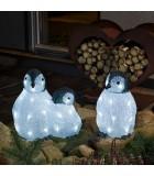 Famille de pingouins à LED en acrylique, 11 cm