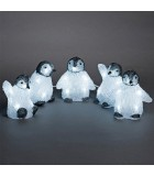 Bébés pingouins à LED en acrylique, 12,5 cm