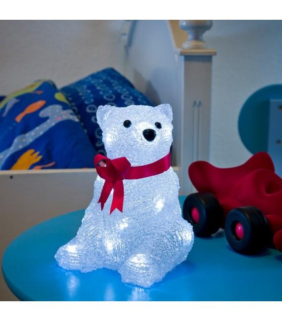 Ours lumineux à LED en acrylique avec ruban rouge, 18 cm