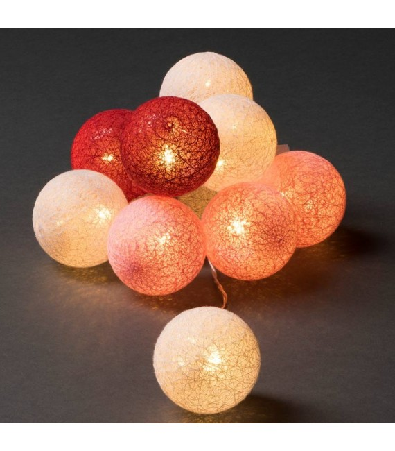 guirlande lumineuse boules coton blanches rouges roses 10 diodes led. Black Bedroom Furniture Sets. Home Design Ideas
