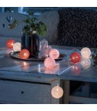 Guirlande lumineuse boules coton blanches/rouges/roses,10 diodes LED