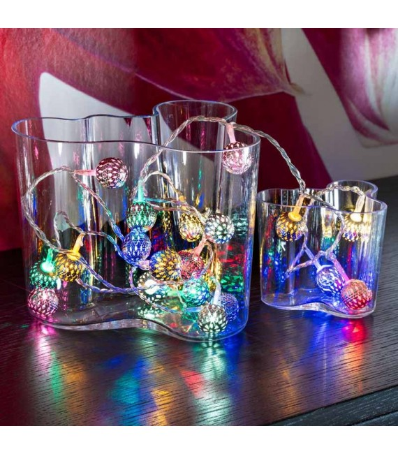 Guirlande lumineuse boules multicolores, 21 diodes LED