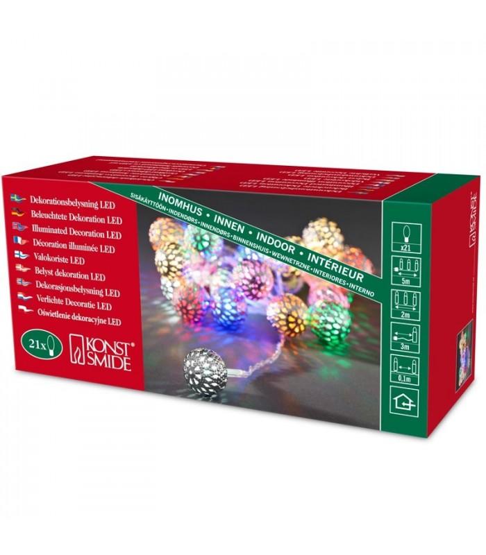 guirlande lumineuse boules multicolores 21 diodes led. Black Bedroom Furniture Sets. Home Design Ideas