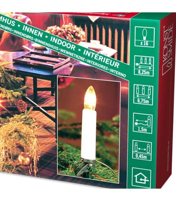 Guirlande pour sapin de Noël, 16 ampoules claires