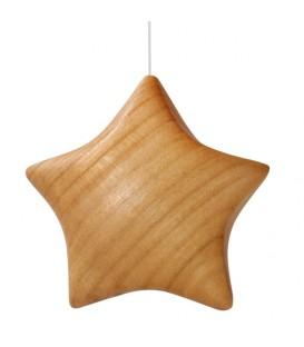 Etoile en bois poli à suspendre 5,5 cm