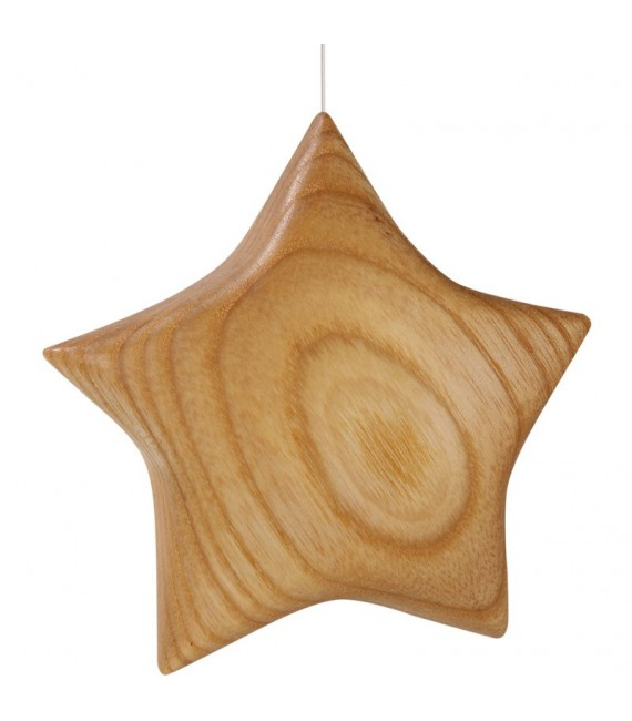 Etoile en bois poli à suspendre 7,5 cm