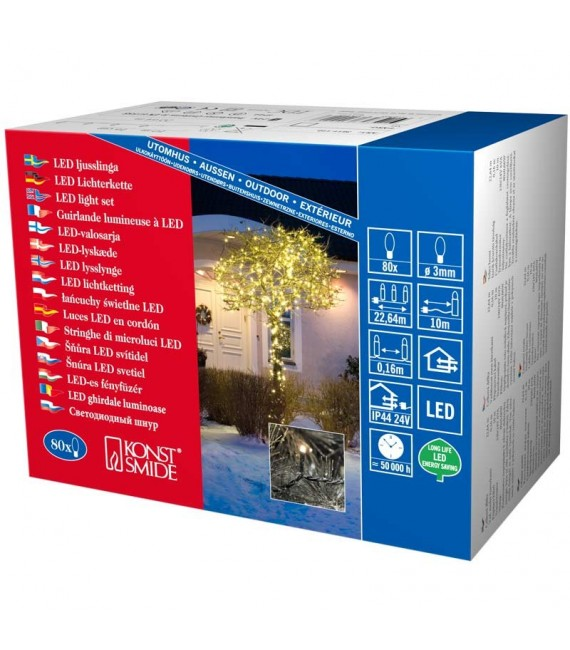 Guirlande lumineuse LED extérieur pour illumination Noël jardin, 80 diodes