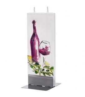 Bougie design bouteille vin rouge et verre