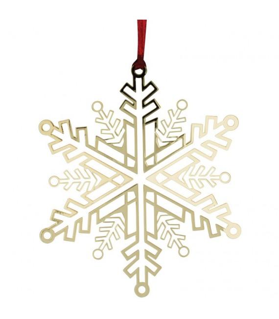 Flocon de neige design en métal doré à accrocher