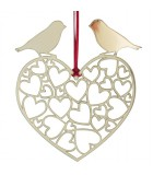 Coeur à suspendre avec oiseaux amoureux en métal doré