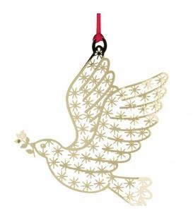 Colombe en métal doré à suspendre au sapin de Noël