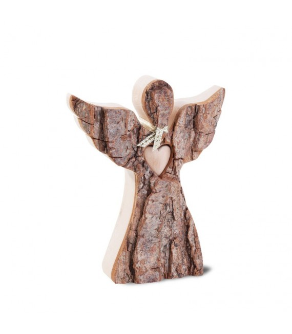 Ange de Noël en bois, avec coeur et écharpe, 12 cm