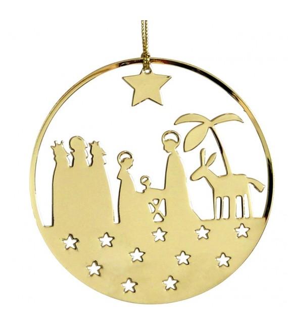Crèche de Noël design dorée à suspendre