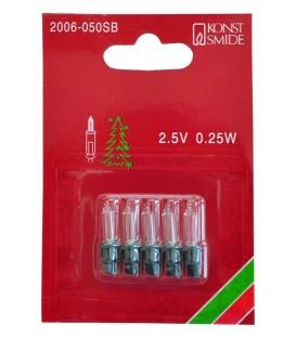 Ampoules de rechange 2,5V - 0,25 W pour guirlande de Noël, douille verte