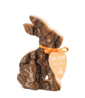 Petit lapin en bois assis, 10 cm
