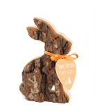 Petit lapin de Pâques en rondin de bois assis, 10 cm
