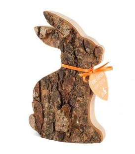 Grand lapin en bois assis, 15 cm