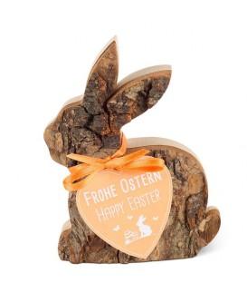 Lapin de Pâques en rondin de bois couché, 8,5 cm