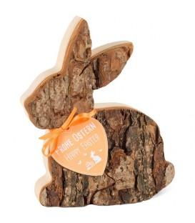 Lapin de Pâques en rondin de bois couché, 12,5 cm