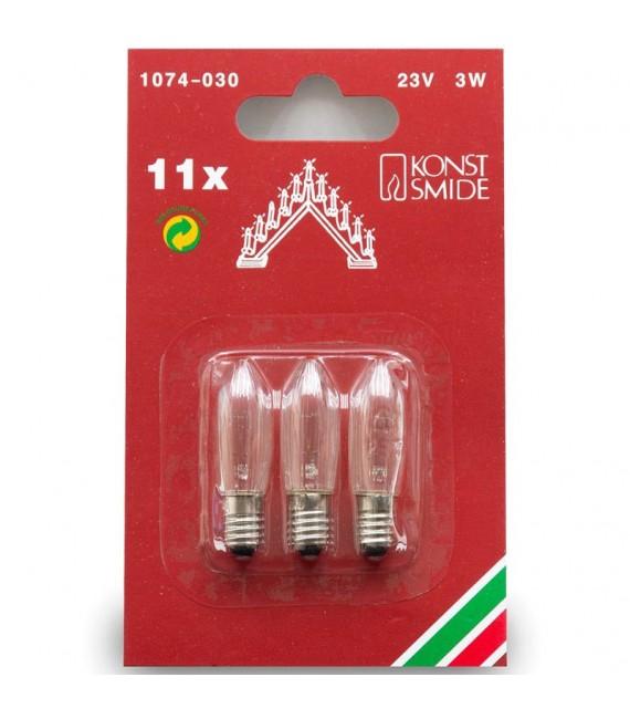 Ampoules de rechange 23V, 3W pour chandelier électrique 11 lampes, Konstsmide 1074-030