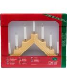 Chandelier de Noël électrique à 7 lampes, bois naturel
