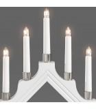 Chandelier de Noël en bois à bougie électrique blanc, 7 lampes