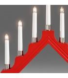 Chandelier de Noël 7 lampes en bois, à bougie électrique, rouge