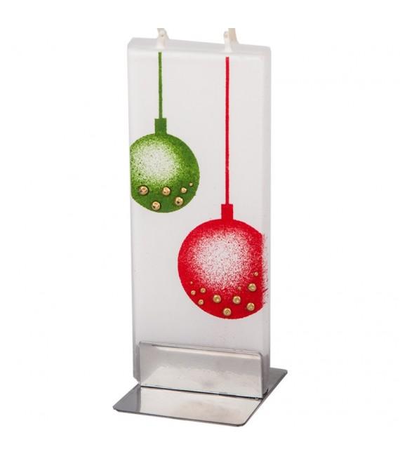 Bougie décorative boules de Noël rouge et verte