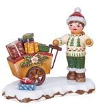 Village de Noël miniature, figurine enfant cadeaux dans poussette