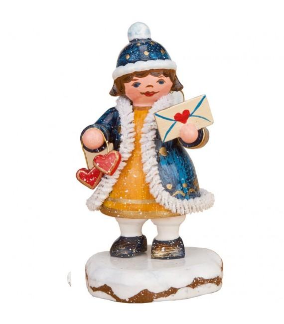 Village de Noël miniature, figurine ange lettre avec coeur
