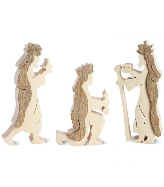 Personnages crèche de Noel, les trois rois mages, 10 cm