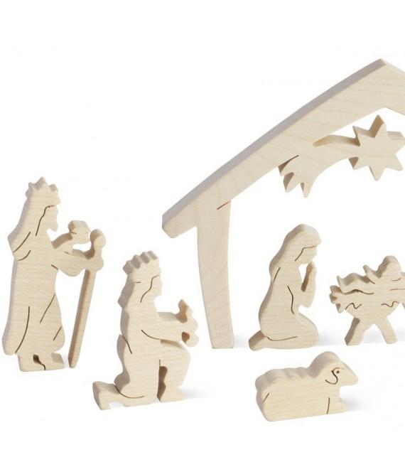 Crèche de Noel avec personnages, bois naturel, 10 cm