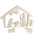Crèche de Noel avec nativité, bois naturel, 15 cm