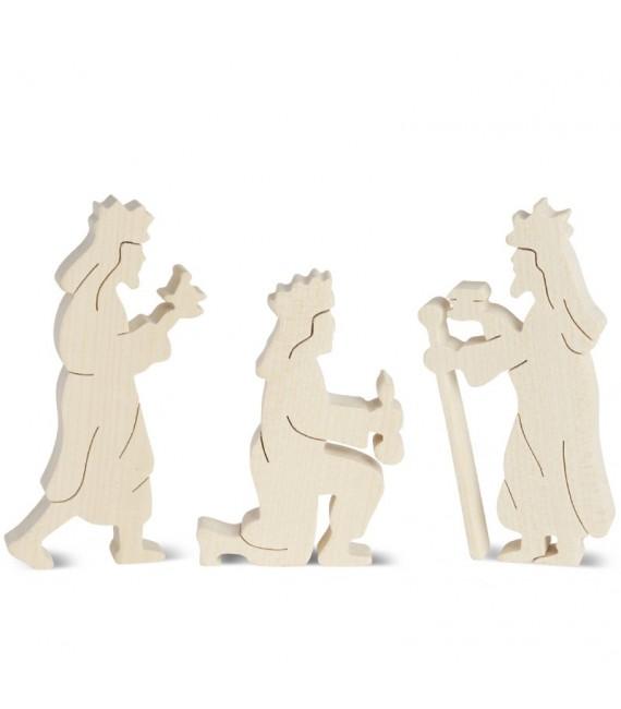 Personnages de crèche, rois mages bois naturel, 10 cm