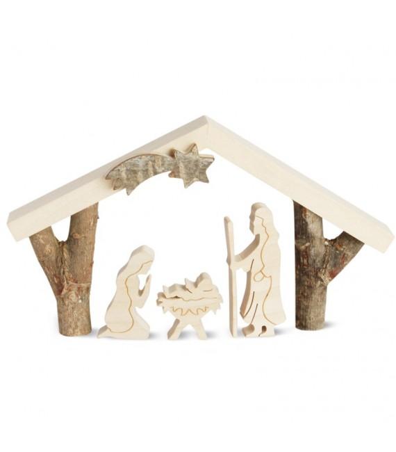 Petite crèche de Noël avec nativité, 8 cm