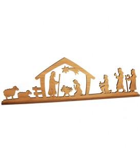 Crèche de Noël diorama en bois d'olivier, 8 cm