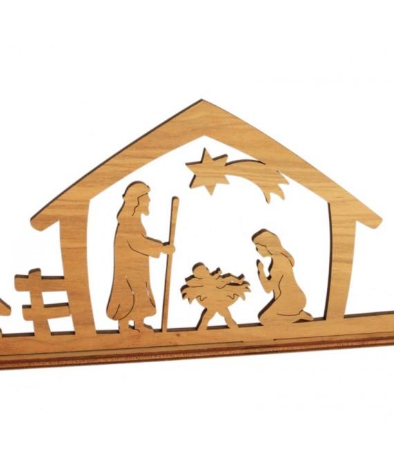 Petite crèche de Noël avec personnages en bois d'olivier, 5 cm