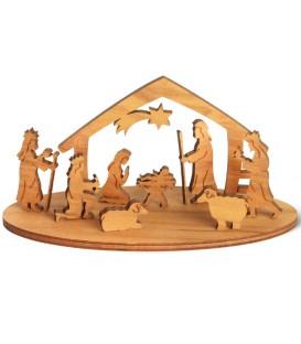 Mini crèche de Noël avec personnages en bois d'olivier, 5 cm