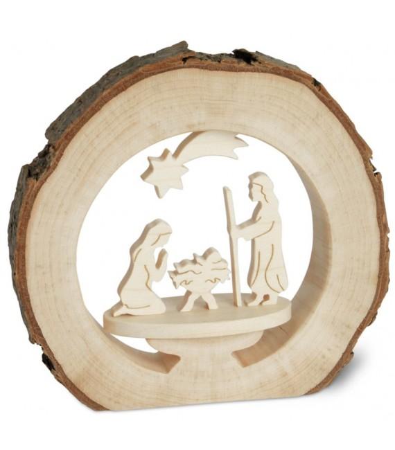 Crèche de Noël dans anneau de bois, 10 cm