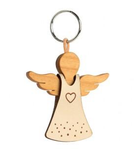 Porte-clés ange avec coeur sur robe en cuir n°1, 5,5 cm