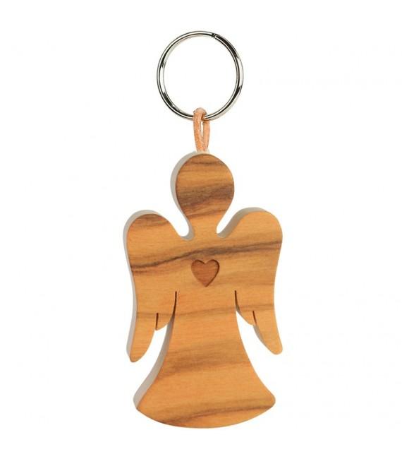 Porte-clés ange avec coeur en bois d'olivier n°1, 5,5 cm