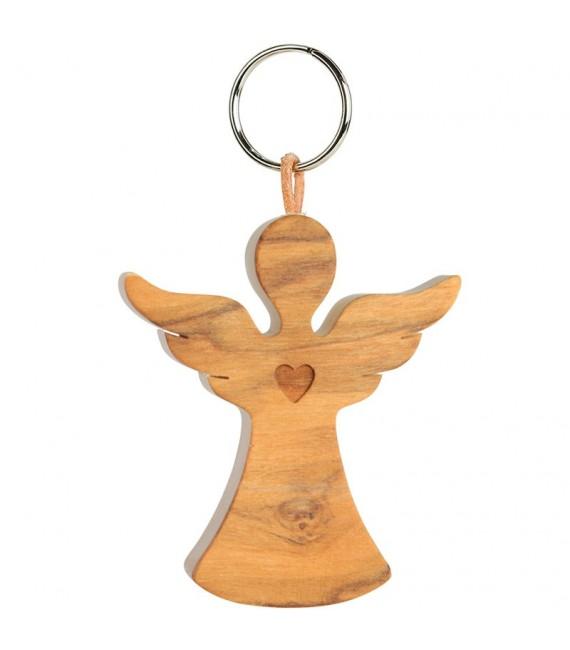 Porte-clés ange avec coeur en bois d'olivier n°2, 5,5 cm