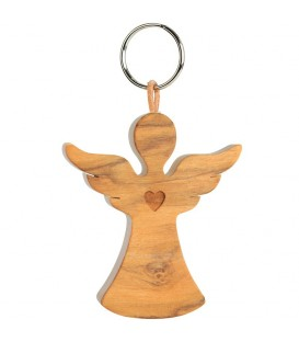 Porte-clefs ange en bois d'olivier avec coeur n°2, 5,5 cm