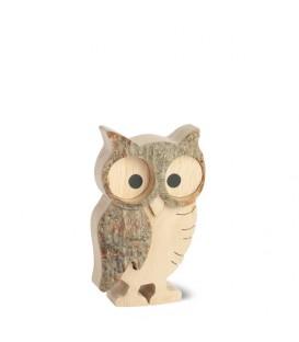 Chouette hulotte en bois, 6 cm